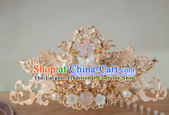 Chinese Handmade Hanfu Crane Pearls Hair Crown Hairpins Traditional Ancient Princess Hair Accessories for Women