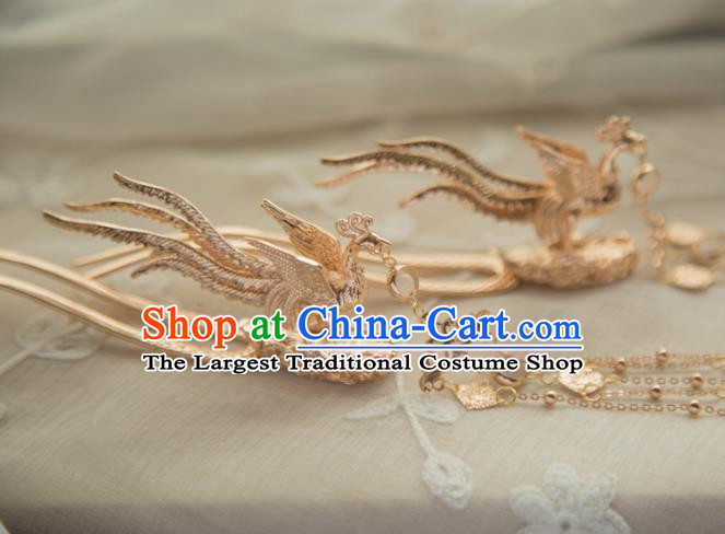 Chinese Handmade Hanfu Phoenix Hairpins Tassel Step Shake Traditional Ancient Princess Hair Accessories for Women