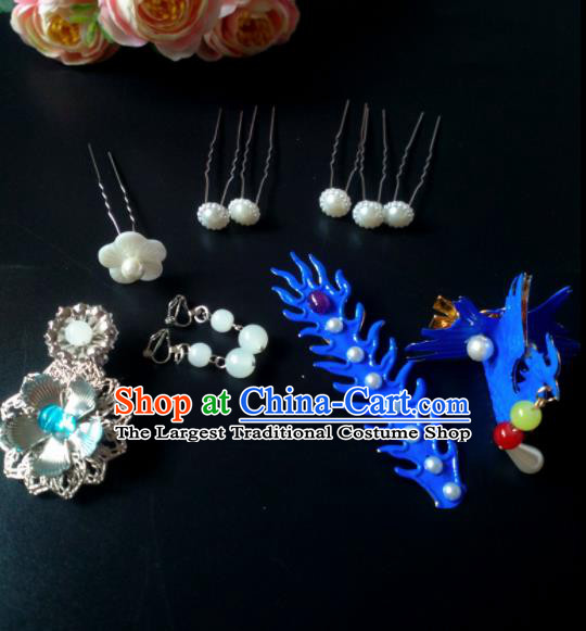 Chinese Handmade Hanfu Palace Phoenix Hair Clip Hairpins Traditional Ancient Princess Hair Accessories for Women