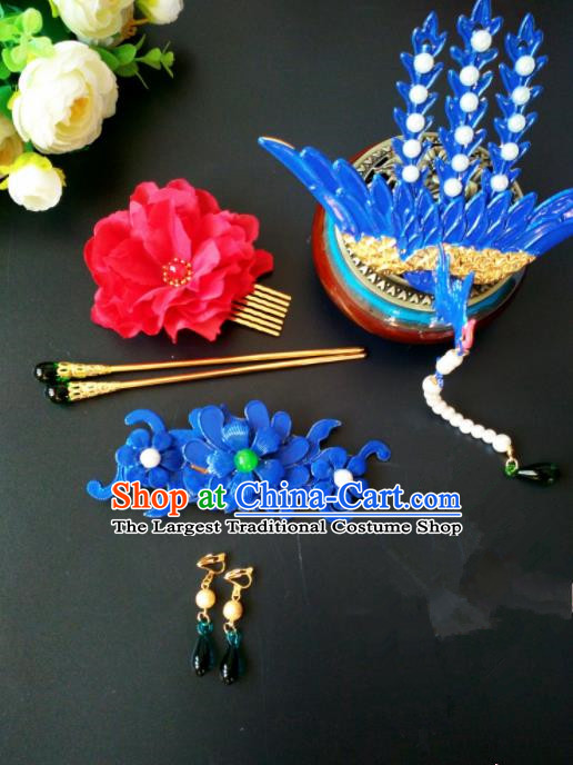 Chinese Handmade Hanfu Palace Phoenix Tassel Hairpins Traditional Ancient Princess Hair Accessories for Women