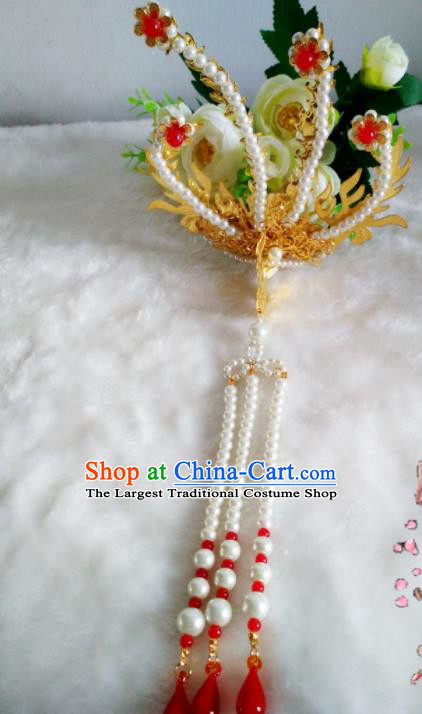Chinese Handmade Hanfu Palace Hairpins Pearls Phoenix Hair Clip Traditional Ancient Princess Hair Accessories for Women