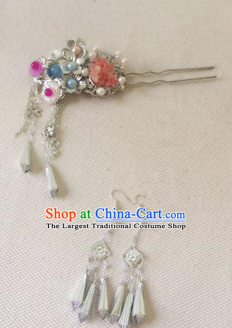 Traditional Chinese Handmade Tassel Hair Clip Hanfu Hairpins Ancient Imperial Consort Hair Accessories for Women
