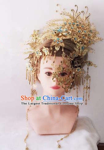 Traditional Chinese Handmade Hanfu Golden Phoenix Coronet Hairpins Ancient Imperial Consort Hair Accessories for Women
