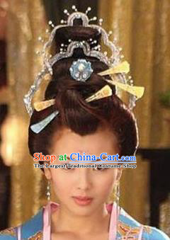 Handmade Chinese Traditional Hanfu Hairpins Hair Crown Ancient Tang Dynasty Imperial Consort Hair Accessories for Women