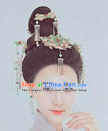 Handmade Chinese Wedding Hair Clip Traditional Hanfu Hairpins Ancient Tang Dynasty Queen Hair Accessories for Women