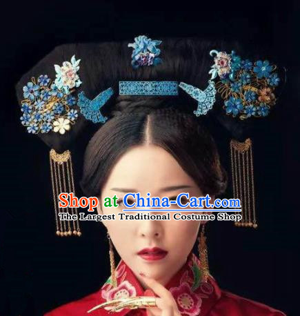 Handmade Chinese Manchu Phoenix Coronet Traditional Hanfu Hairpins Ancient Qing Dynasty Queen Hair Accessories for Women