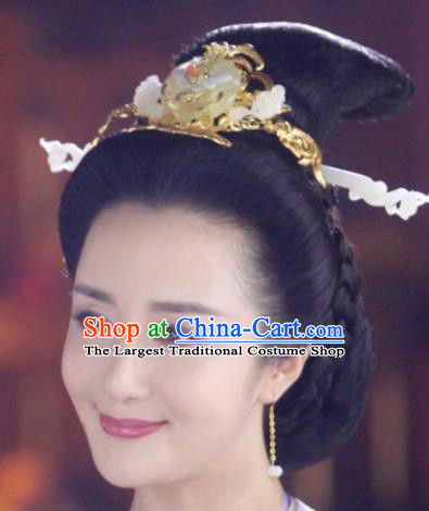 Handmade Chinese Traditional Hanfu Jade Hair Comb Hairpins Ancient Tang Dynasty Queen Hair Accessories for Women