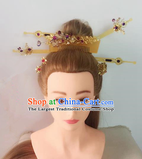 Handmade Chinese Palace Hair Combs Princess Hairpins Ancient Traditional Hanfu Hair Accessories for Women
