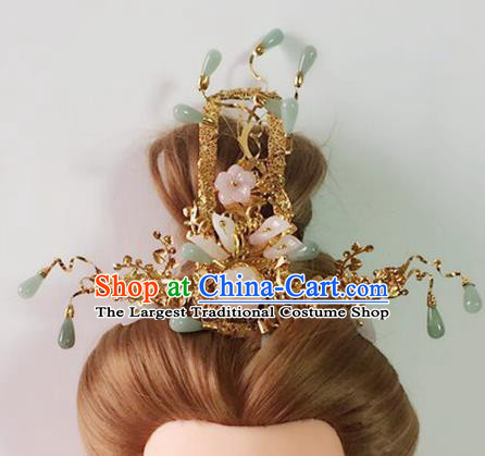 Handmade Chinese Palace Jade Tassel Phoenix Coronet Princess Hairpins Ancient Traditional Hanfu Hair Accessories for Women