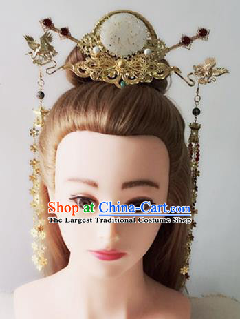 Handmade Chinese Palace Jade Hair Crown Princess Hairpins Ancient Traditional Hanfu Hair Accessories for Women