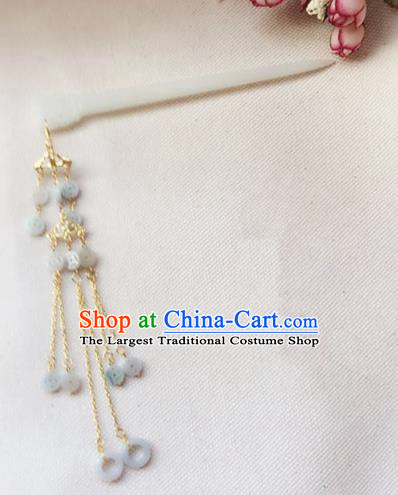 Handmade Chinese Palace Queen Jade Tassel Hairpins Ancient Traditional Hanfu Hair Accessories for Women