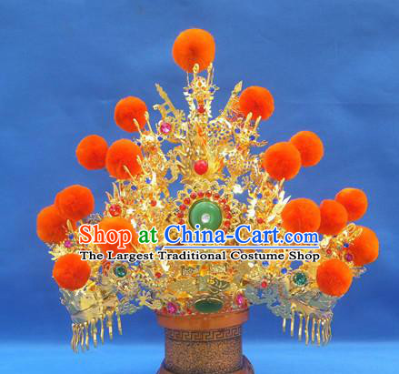 Handmade Chinese Traditional Immortals Orange Venonat Golden Helmet Hair Accessories Ancient Swordsman Hairdo Crown for Men