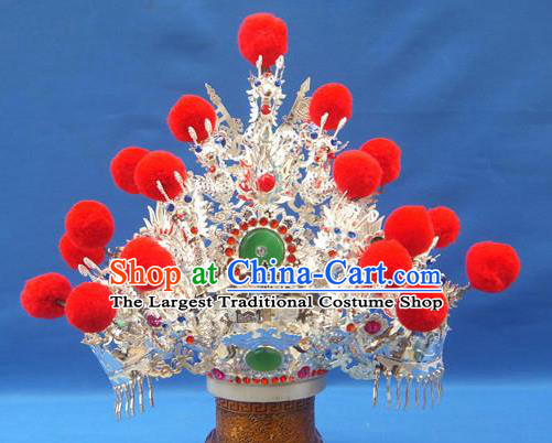 Handmade Chinese Traditional Immortals Red Venonat Helmet Hair Accessories Ancient Swordsman Hairdo Crown for Men