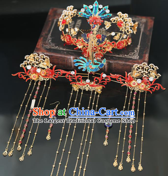 Handmade Chinese Ancient Wedding Hairpins Cloisonne Phoenix Coronet Traditional Bride Hanfu Hair Accessories for Women
