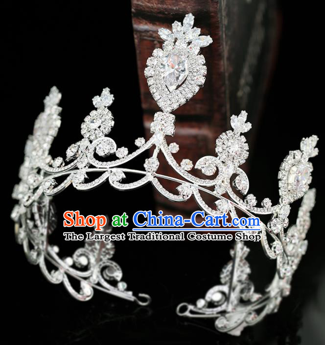 Top Grade Handmade Baroque Zircon Royal Crown Princess Wedding Bride Hair Accessories for Women