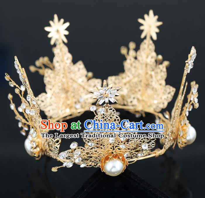 Top Grade Handmade Baroque Princess Golden Crystal Royal Crown Wedding Bride Hair Accessories for Women