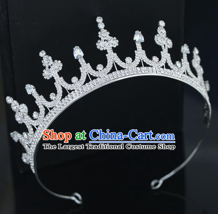 Top Grade Handmade Baroque Princess Zircon Royal Crown Wedding Bride Hair Accessories for Women