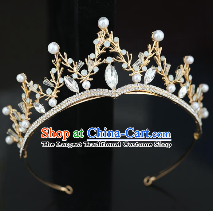 Top Grade Handmade Baroque Princess Zircon Golden Royal Crown Wedding Bride Hair Accessories for Women