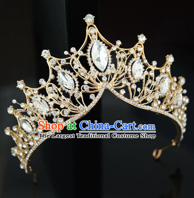 Top Grade Handmade Baroque Princess Crystal Golden Royal Crown Wedding Bride Hair Accessories for Women