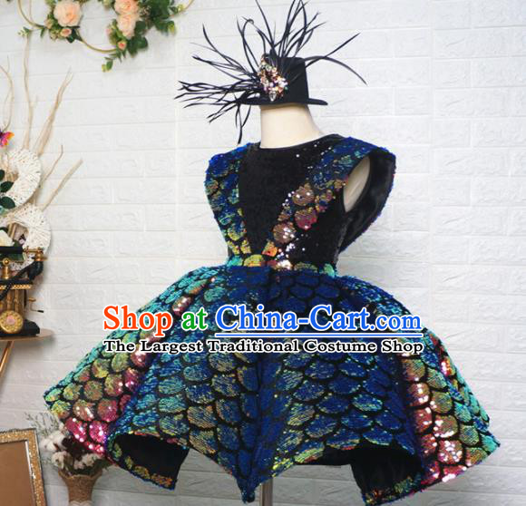 Top Grade Modern Fancywork Court Princess Bubble Dress Catwalks Compere Stage Show Dance Costume for Kids