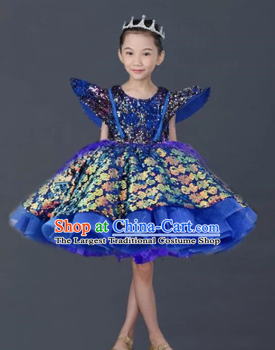 Top Grade Stage Show Costume Catwalks Princess Royalblue Bubble Short Dress for Kids