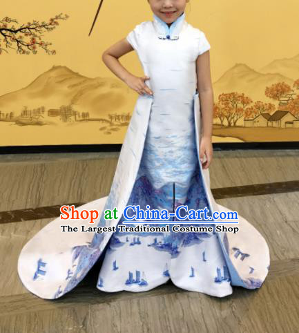 Chinese Stage Performance Full Dress Catwalks White Qipao Modern Fancywork Dance Costume for Kids