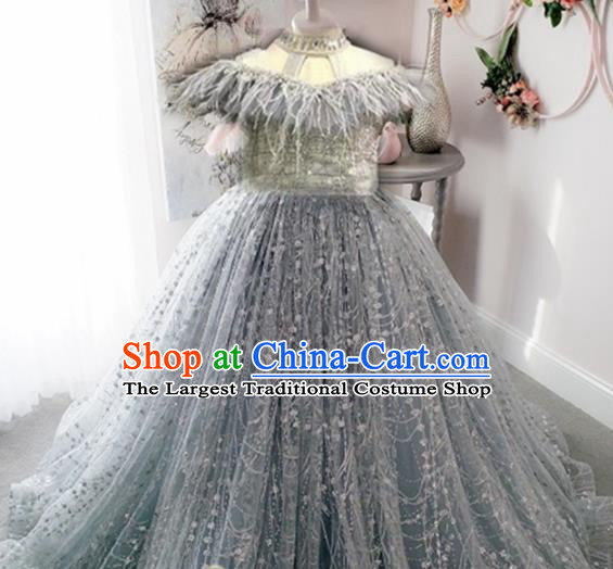 Top Grade Stage Show Costume Catwalks Princess Grey Veil Full Dress for Kids
