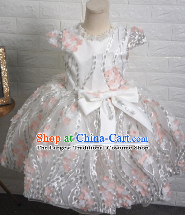 Top Grade Stage Show Costume Catwalks Princess White Short Full Dress for Kids
