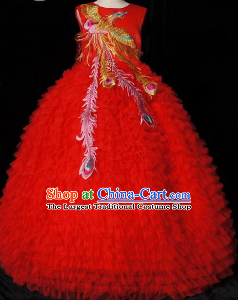Top Grade Chinese Stage Show Costume Catwalks Dance Embroidered Red Full Dress for Kids