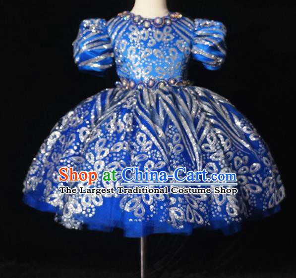Top Grade Stage Show Dance Blue Bubble Full Dress Catwalks Court Princess Costume for Kids