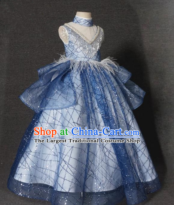 Top Grade Stage Show Dance Compere Blue Veil Full Dress Catwalks Court Princess Costume for Kids