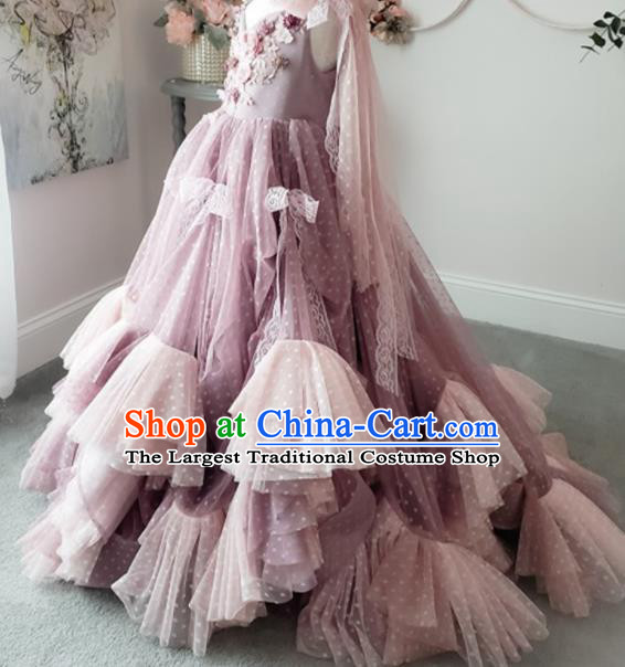 Top Grade Stage Show Compere Light Purple Dress Catwalks Court Princess Dance Costume for Kids