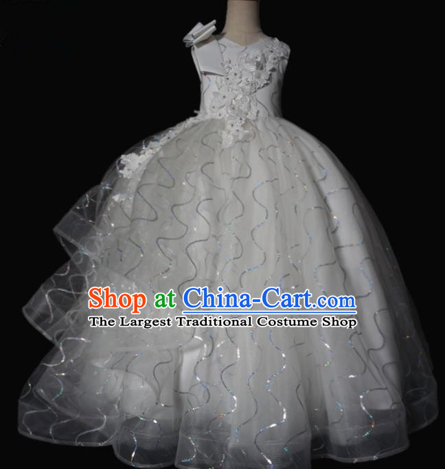 Top Grade Stage Show Compere White Veil Bubble Dress Catwalks Court Princess Dance Costume for Kids