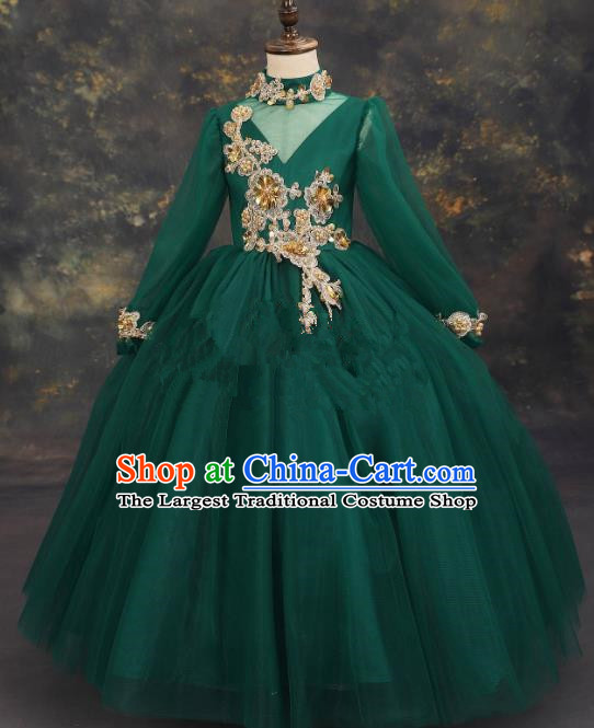 Professional Girls Compere Embroidered Deep Green Full Dress Modern Fancywork Catwalks Stage Show Costume for Kids