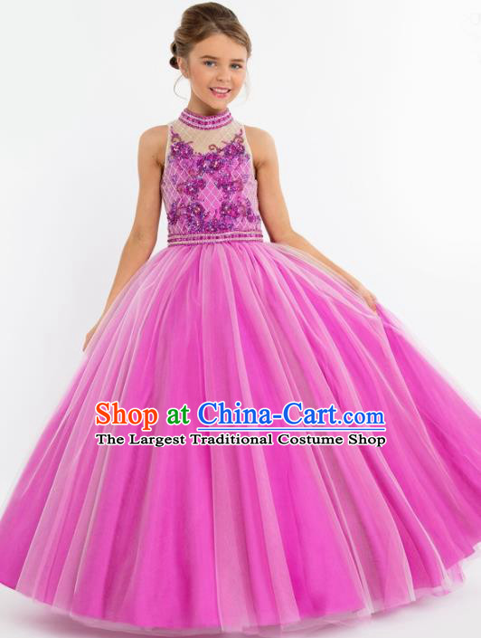 Professional Girls Compere Rosy Veil Long Full Dress Modern Fancywork Catwalks Stage Show Costume for Kids