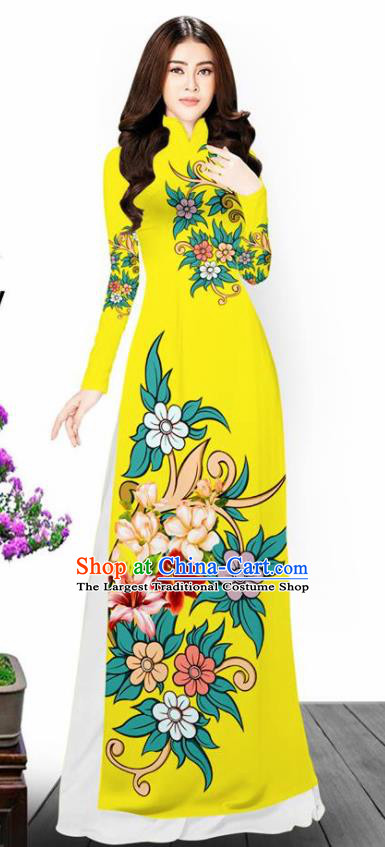 Asian Vietnam Traditional Printing Flowers Yellow Aodai Cheongsam Vietnamese Bride Classical Qipao Dress for Women