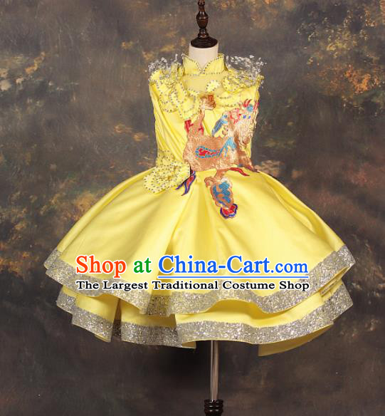 Chinese Stage Performance Catwalks Embroidered Yellow Full Dress Modern Fancywork Dance Costume for Kids