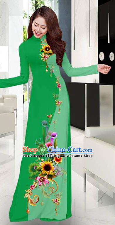 Green Aodai Cheongsam Asian Vietnam Traditional Costume Vietnamese Bride Classical Qipao Dress for Women