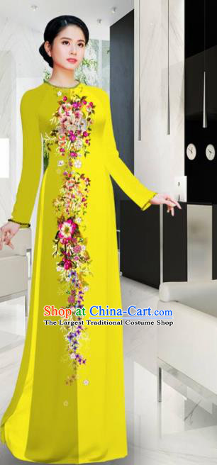 Asian Printing Flowers Yellow Aodai Cheongsam Vietnam Traditional Costume Vietnamese Bride Classical Qipao Dress for Women