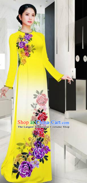 Asian Printing Roses Yellow Aodai Cheongsam Vietnam Traditional Costume Vietnamese Bride Classical Qipao Dress for Women