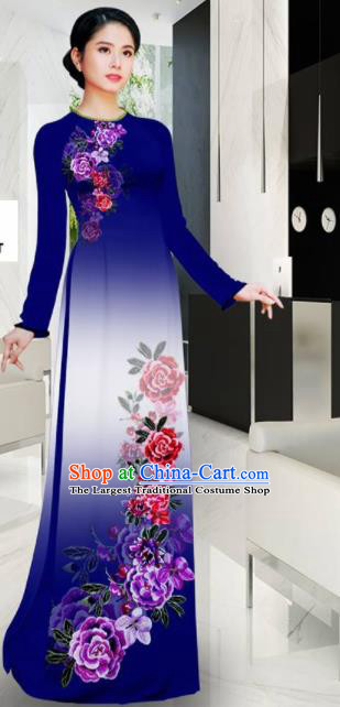 Asian Printing Roses Navy Aodai Cheongsam Vietnam Traditional Costume Vietnamese Bride Classical Qipao Dress for Women