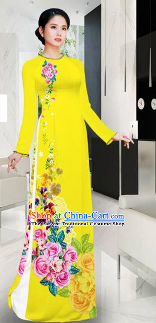Asian Vietnam Printing Roses Yellow Aodai Cheongsam Traditional Costume Vietnamese Bride Classical Qipao Dress for Women