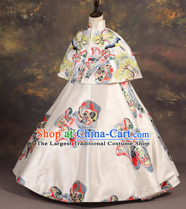 Chinese Stage Performance Catwalks Embroidered White Full Dress Modern Fancywork Dance Costume for Kids