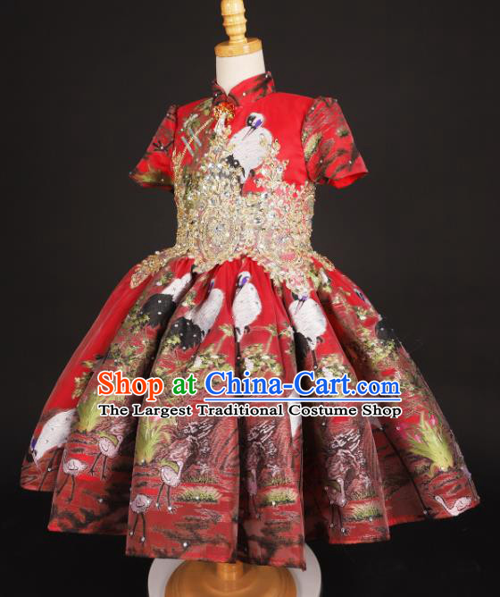 Chinese Stage Performance Catwalks Printing Red Full Dress Modern Fancywork Dance Costume for Kids