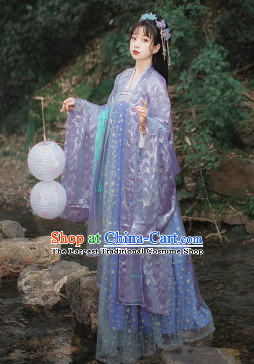 Chinese Traditional Purple Hanfu Dress Traditional Ancient Tang Dynasty Princess Historical Costume for Women