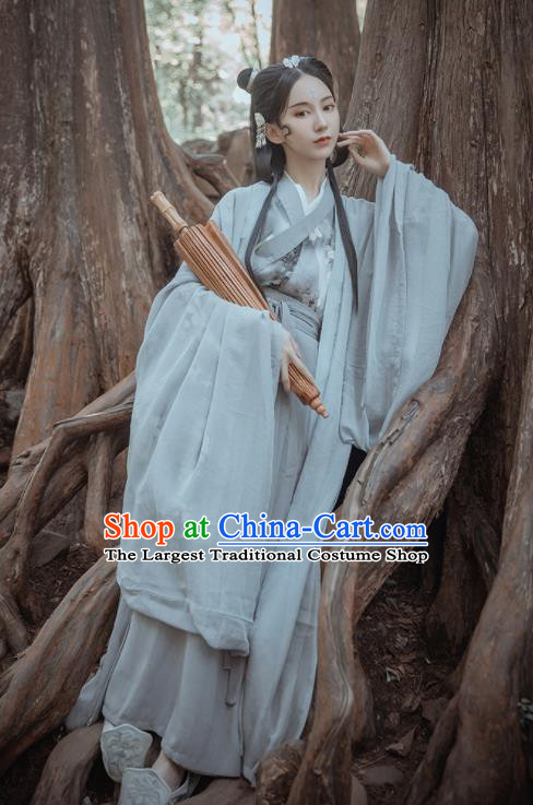 Chinese Traditional Ancient Female Swordsman Grey Hanfu Dress Jin Dynasty Court Princess Historical Costume for Women