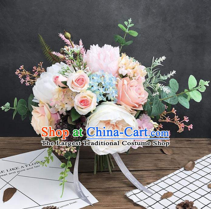 Handmade Wedding Bride Holding Emulational Classical White Peony Flowers Ball Hand Tied Bouquet Flowers for Women