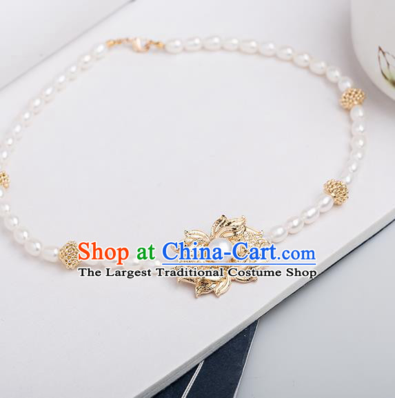 Handmade Chinese Classical Pearls Necklace Ancient Palace Hanfu Necklet Accessories for Women