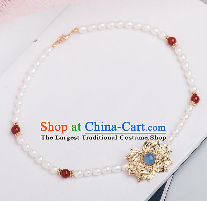 Handmade Chinese Classical Necklace Ancient Palace Hanfu Pearls Necklet Accessories for Women