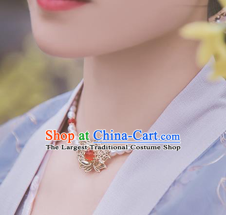 Handmade Chinese Classical Agate Necklace Ancient Palace Hanfu Necklet Accessories for Women